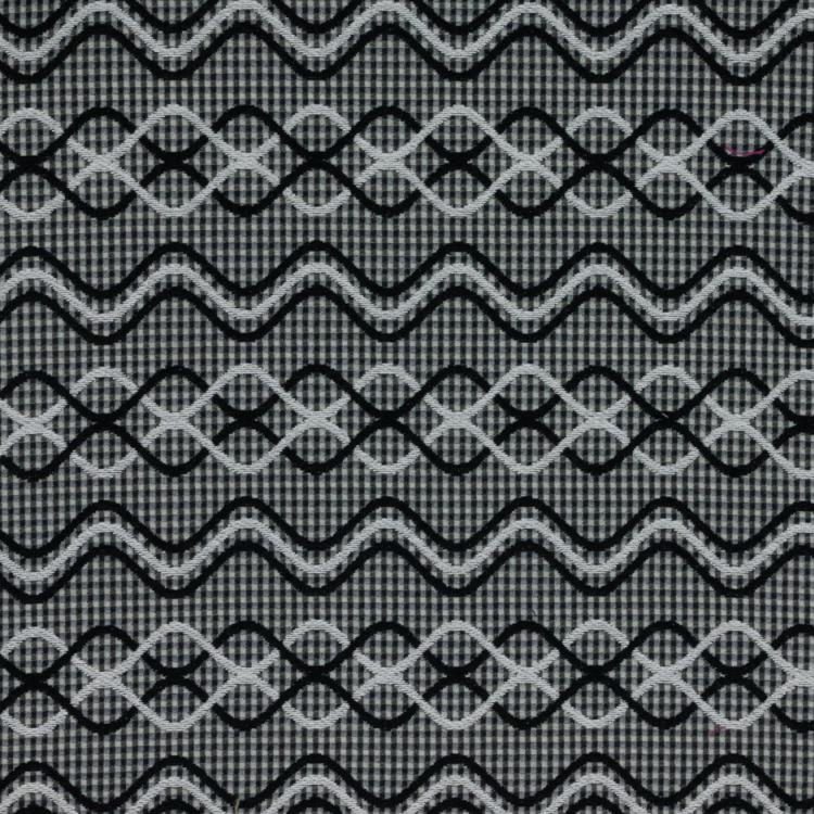 Glenwick Gray Black Geometric Upholstery Fabric / Tuxedo