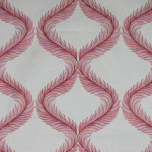 Nom de Plume Red Embroidered Feather Drapery Fabric / Pomegranate