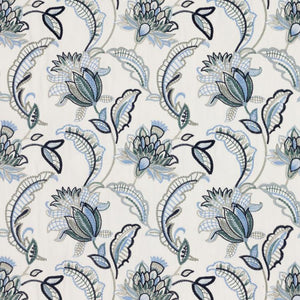 Nottingham Garden Floral Embroidered Navy French Blue Gray Ivory Jacobean Drapery Fabric / Blue Sky