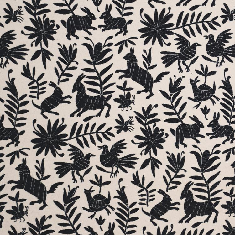 Pinata Black and Beige Upholstery Fabric Animal Leaves Print / Domino