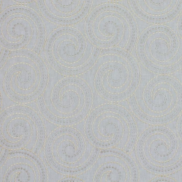 Scroll Dance Light Gray Cream Embroidered Drapery Fabric / Candlelight
