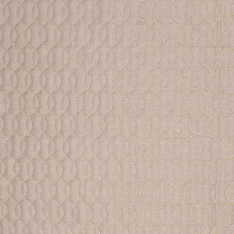 Stitch in Time Beige Neutral Embroidered Trellis Drapery Fabric / Marble