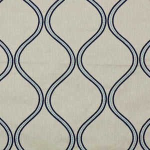 Stitchery Trellis Embroidered Navy Blue Drapery Fabric / Cobalt