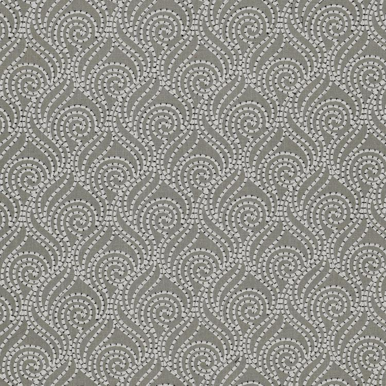 Swirl-A-Way Gray White Embroiderer Cotton Linen Blend Drapery Fabric / Flannel