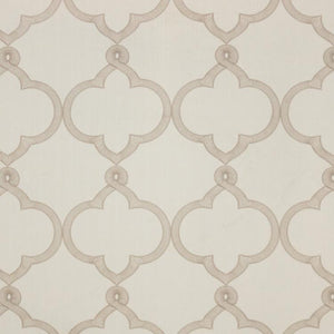 Tangier Trellis Beige Embroidered Neutral Drapery Fabric / Linen
