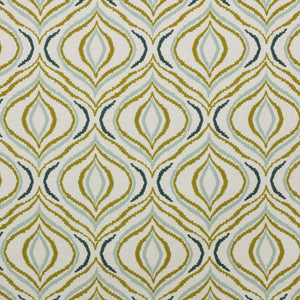 Tradewinds Chartreuse Green Navy Blue White Embroidered Drapery Fabric / Blue Spruce