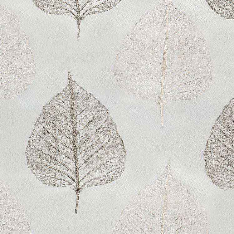 Tree House Silver Gray White Botanical Leaf Drapery Fabric / Silver Oak