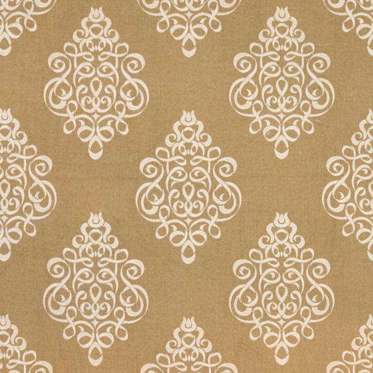 Tuxedo Park Beige Cream Embroidered Upholstery Fabric / Toffee