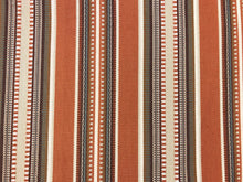 Load image into Gallery viewer, Designer Water & Stain Resistant Woven Rusty Brown Gray Beige Cream Kilim Southwestern Stripe Upholstery Fabric