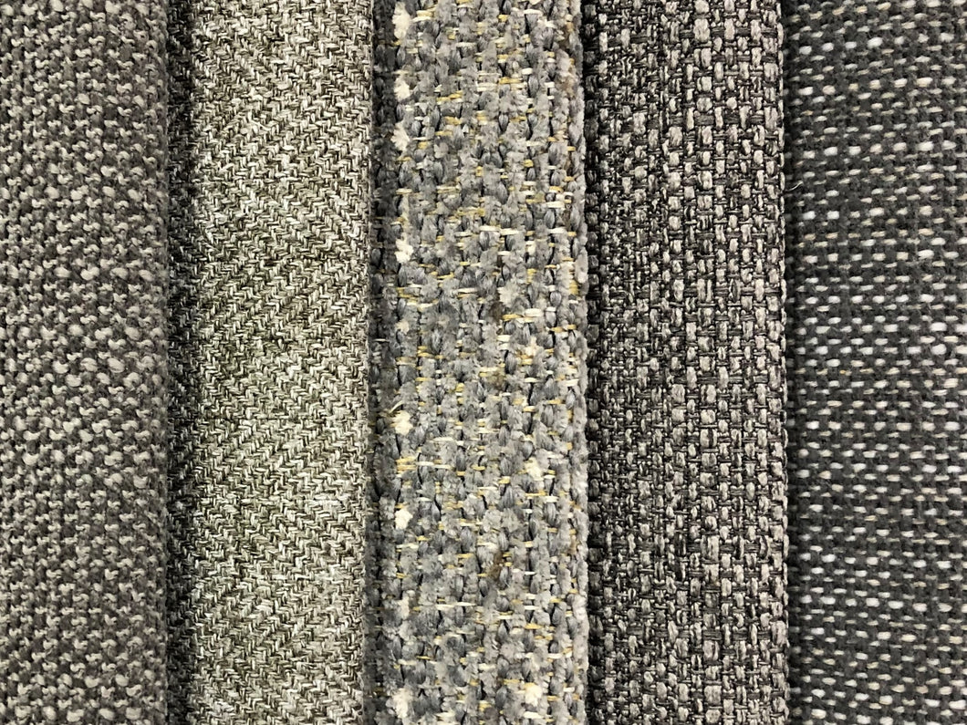 Crypton Stain Water Resistant Mid Century Modern Basketweave Herringbone Tweed Charcoal Gray Silver Upholstery Fabric RMCR XII