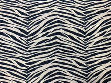 Load image into Gallery viewer, Designer Navy Blue Grey Animal Pattern Zebra Upholstery Fabric