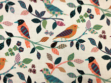 Load image into Gallery viewer, Cotton Aviary Parchment Bird Print Teal Coral Orange Green Beige Pink Magenta Upholstery Drapery Fabric