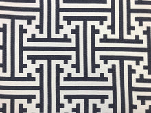 Load image into Gallery viewer, Designer Reversible Navy Blue White Geometric Greek Key Maze Abstract Upholstery Fabric
