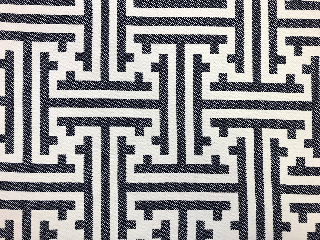Designer Reversible Navy Blue White Geometric Greek Key Maze Abstract Upholstery Fabric