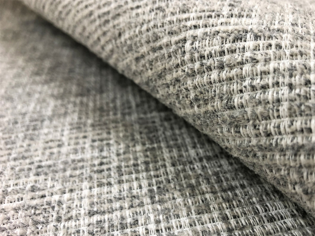 Perennials Indoor Outdoor Water Resistant Textured MCM Mid Century Modern Gray Grey Off White Tweed Upholstery Fabric
