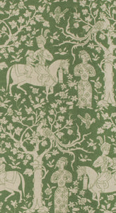 Vervain Manchurian Forest Toile Ethnic Elephant Fabric / Emerald