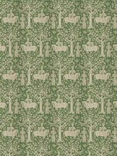 Load image into Gallery viewer, Vervain Manchurian Forest Toile Ethnic Elephant Fabric / Emerald
