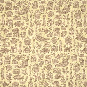 Vervain Maya Ethnic Bird Animal Linen Print Fabric / Peridot