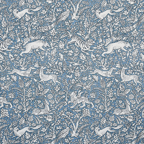 SCHUMACHER KHAN'S PARK FABRIC 2603275 / CHAMBRAY