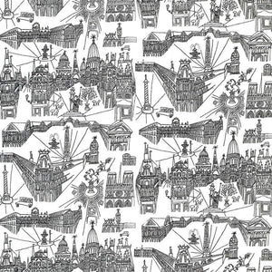 SCHUMACHER VIEWS OF PARIS FABRIC 2628830 / BLACK ON WHITE