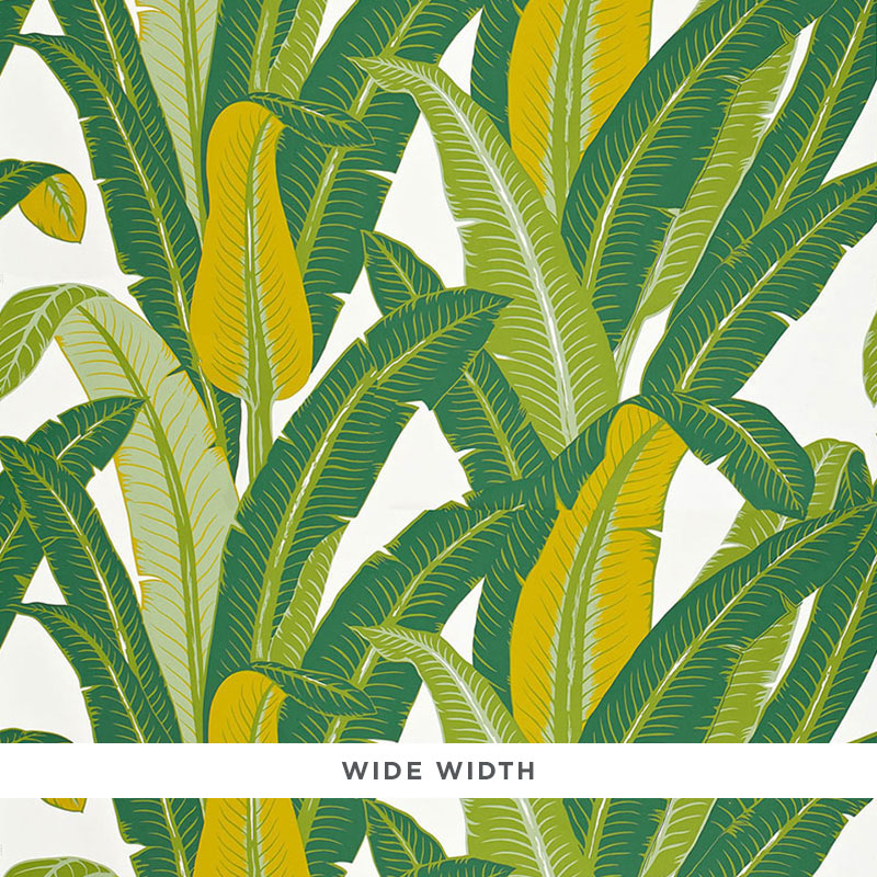 Schumacher Tropical Isle Wallpaper 2707230 / Green On White