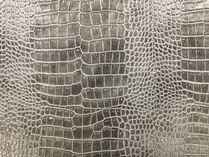 Designer Silver Greige Gray Alligator Reptile Animal Pattern Faux Leather Upholstery Vinyl