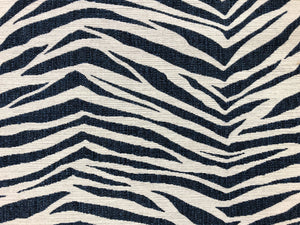 Designer Navy Blue Grey Animal Pattern Zebra Upholstery Fabric