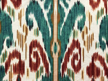 Load image into Gallery viewer, 1991 Vintage Lee Jofa Pardah Cotton Linen Nylon Emerald Green Teal Rusty Red Mustard Beige Ikat Ethnic Tribal Upholstery Drapery Fabric