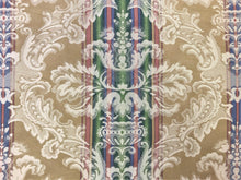 "Load image into Gallery viewer, 54"" Wide Reversible French Blue Emerald Green Red Beige Ivory Vintage Damask Floral Stripe Cotton Upholstery Drapery Fabric"