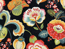Load image into Gallery viewer, Pleasanties Fiesta Mill Creek Soil Repellent Black Coral Yellow Orange Teal Green Jacobean Floral Cotton Upholstery Drapery Fabric