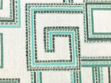 Load image into Gallery viewer, Sunbrella Indoor Outdoor Geometric Southwestern Green Teal Gray Upholstery Drapery Fabric