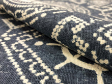 Load image into Gallery viewer, Richloom Nautical Ethnic Geometric Denim Blue Ivory Cotton Upholstery Drapery Fabric