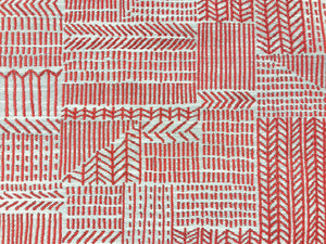 Designer Woven Abstract Water & Stain Resistant Tribal Ethnic Red Beige Southwestern Upholstery Drapery Fabric