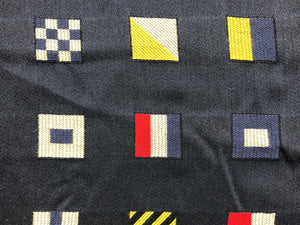 Designer Woven Water & Stain Resistant Marine Flag Pattern Navy Blue Red Yellow Off White Geometric Nautical Upholstery Drapery Fabric