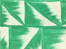 Load image into Gallery viewer, Dedar Milano Fresco 001 Malachite Hand Painted Leaves Geometric Abstract Emerald Green Off White Drapery Fabric