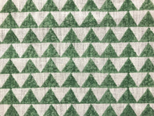 Load image into Gallery viewer, Designer Pyramids Block Printed Linen Green Off White Geometric Fabric