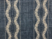 Load image into Gallery viewer, Peter Dunham Textiles Zanzibar Indigo Blue Linen Ethnic Tribal Stripe Upholstery Drapery Fabric