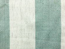 Load image into Gallery viewer, Designer Belgian Linen Cream Ivory Seafoam Green Blue Stripe Nautical Upholstery Drapery Fabric