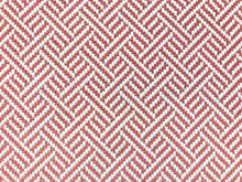 Load image into Gallery viewer, Robert Allen Beach Club Bk Rhubarb Rose Red Pink White Geometric Trellis Lattice Upholstery Fabric