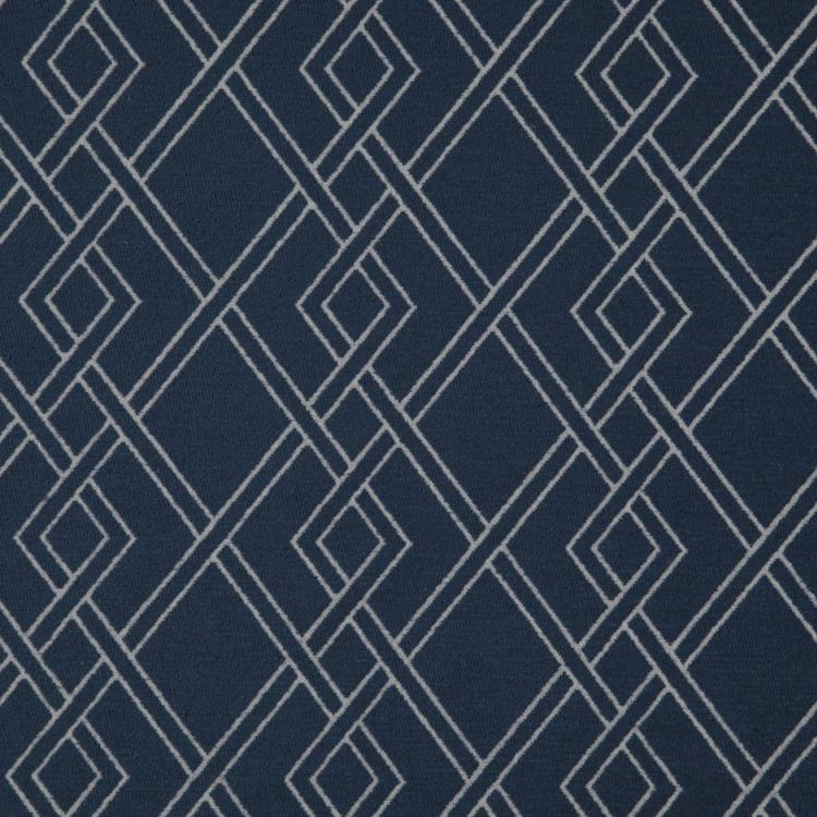 Alton Dark Blue Geometric Upholstery Fabric / Navy