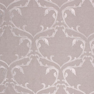 Angelica Taupe Beige Neutral Embroidered Damask Drapery Fabric / Shadow