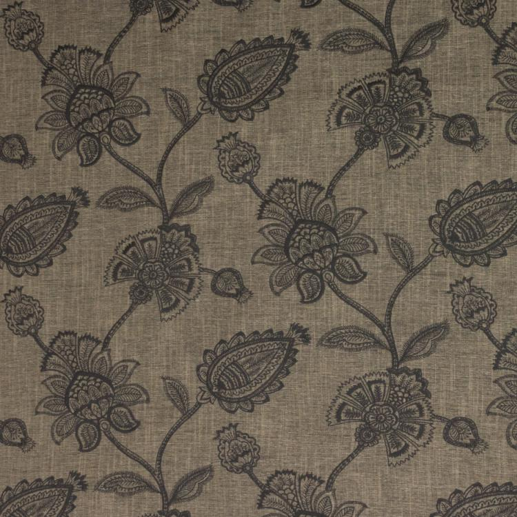 Ansley Park Embroidered Neutral Jacobean Drapery Fabric / Black Walnut