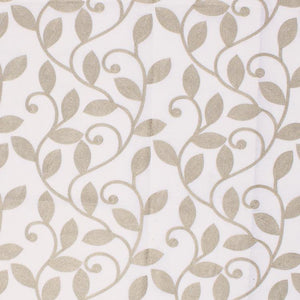 Briarwood White Beige Embroidered Botanical Drapery Fabric / Oatmeal