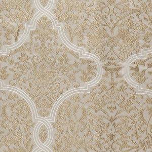 Chalfont Damask Beige Gold Embroidered Drapery Fabric / Linen