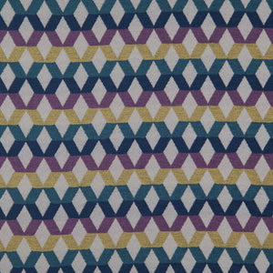 Di Lido Purple Teal Blue Mustard Gold Geometric Upholstery Fabric / Wisteria