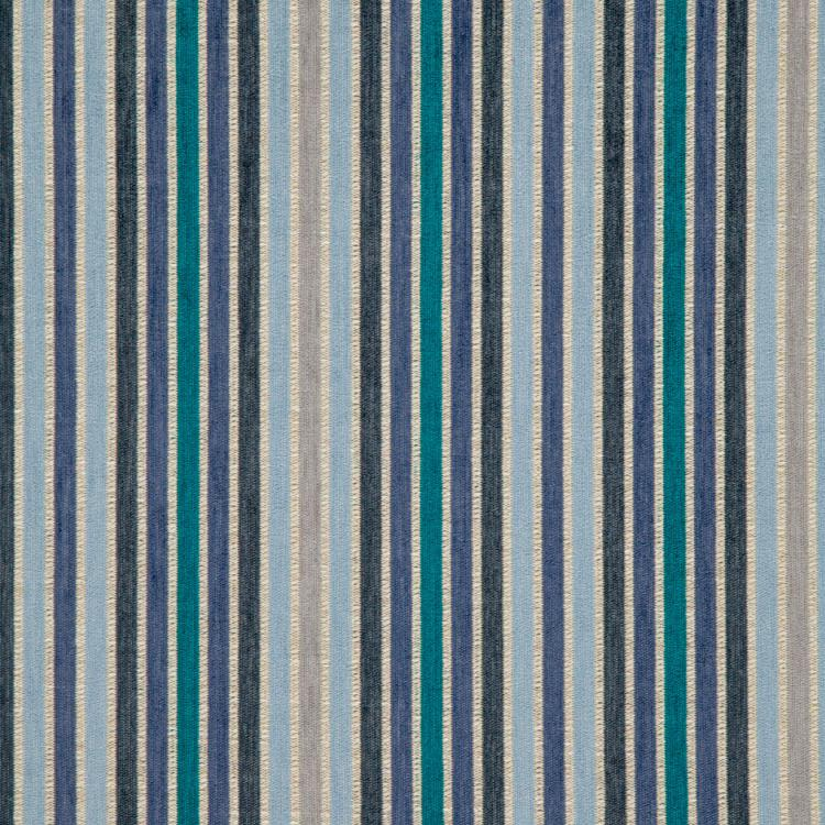Española Way Navy Blue Teal Gray Stripe Upholstery Fabric / Emerald
