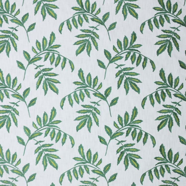 Falling Leaves White Green Cotton Embroidered Drapery Fabric / Minthe