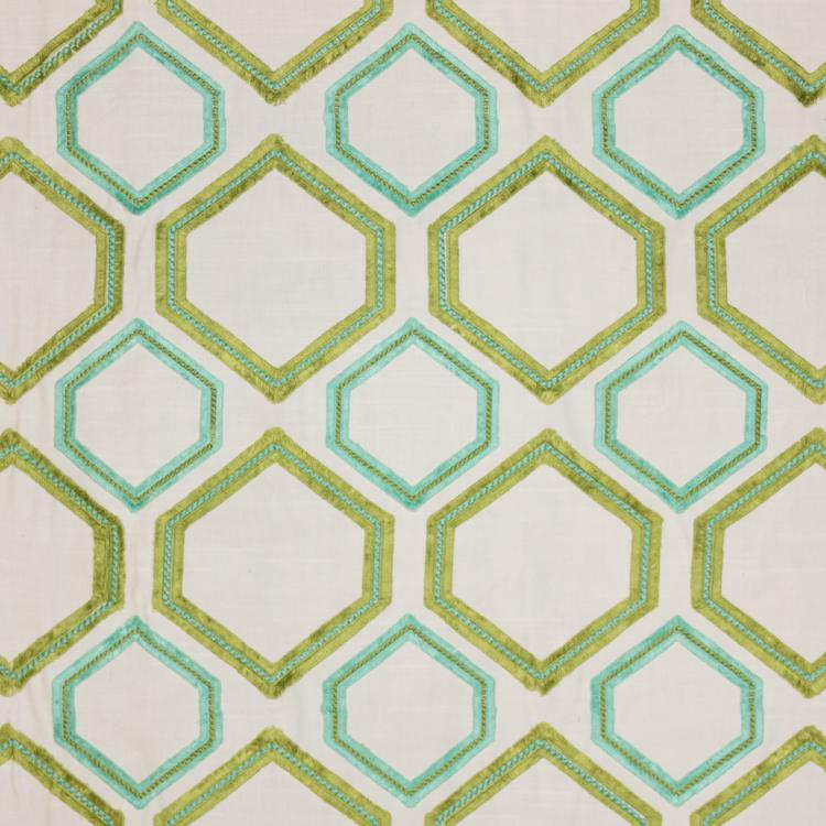 Fringe Benefits Green Cotton Viscose Embroidered Geometric Drapery Fabric / Seaglass
