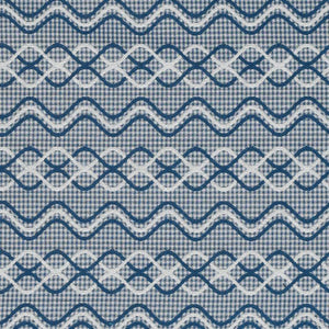 Glenwick Navy Blue with White Geometric Upholstery Fabric / Indigo