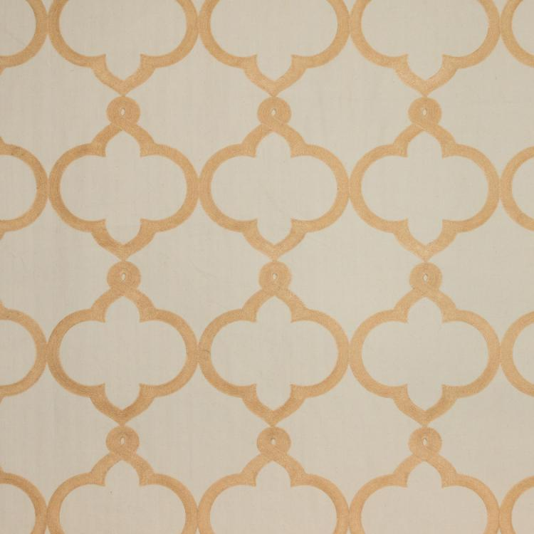 Kafu Trellis Beige Mustard Gold Embroidered Drapery Upholstery Fabric / Gold Rush